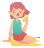Menina de relaxamento que guarda um telefone celular Ilustração Royalty Free