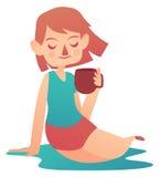 Menina de relaxamento que guarda uma caneca Ilustração Stock