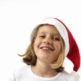 Menina de riso de Santa foto de stock royalty free