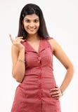 Menina de riso na camisa vermelha Imagem de Stock