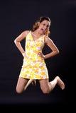 Menina de salto feliz Imagens de Stock Royalty Free