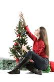 Menina de Santa com árvore de Natal Fotos de Stock