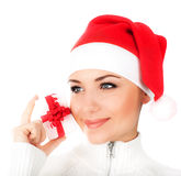 Menina de Santa com caixa de presente Fotos de Stock Royalty Free