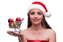A menina de Santa com a decoração do carrinho de compras e do Natal Imagens de Stock Royalty Free