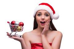 A menina de Santa com a decoração do carrinho de compras e do Natal Imagem de Stock Royalty Free