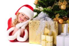 Menina de Santa do Natal Fotografia de Stock