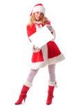 Menina de Santa do Natal com presente Foto de Stock Royalty Free
