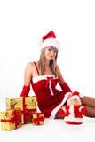 Menina de Santa. Feriados ano novo e Natal Fotografia de Stock