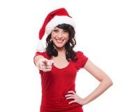 Menina de Santa que aponta em você Fotos de Stock Royalty Free