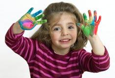 Menina de saudação com os braços aumentados Imagem de Stock Royalty Free