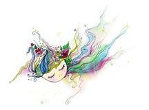 Menina de sono com aquarelas Imagem de Stock Royalty Free