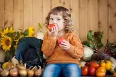 Menina de sorriso adorável da criança com colheita do outono Imagens de Stock
