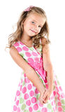 Menina de sorriso adorável no vestido da princesa isolado Imagens de Stock