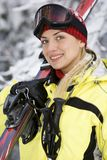Menina de sorriso após o esqui Imagem de Stock Royalty Free