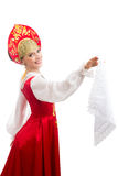 Menina de sorriso bonita do russo no traje popular Foto de Stock