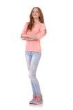 Menina de sorriso bonito na blusa e em calças de brim cor-de-rosa Imagens de Stock