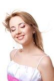 Menina de sorriso com cabelo do vôo Imagem de Stock