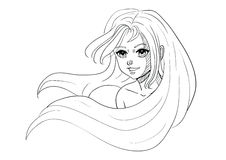 Menina de sorriso de cabelos compridos do esboço do vetor Imagens de Stock
