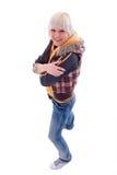 Menina de sorriso do Blonde das calças de brim. fotos de stock royalty free