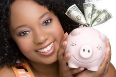 Menina de sorriso do dinheiro imagem de stock royalty free