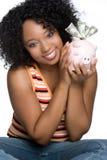Menina de sorriso do dinheiro fotografia de stock royalty free