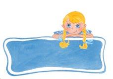Menina de sorriso engraçada com curvas ilustração stock