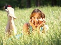 Menina de sorriso feliz Fotografia de Stock