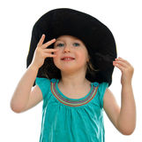 Menina de sorriso no chapéu Imagens de Stock Royalty Free