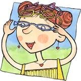 Menina de sorriso que escolhe óculos de sol ilustração do vetor