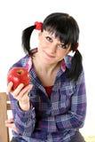Apple na mão da menina Imagem de Stock