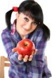 Apple na mão da menina Fotos de Stock Royalty Free