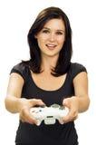 Menina de sorriso que joga o jogo video fotos de stock