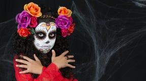 Menina de Sugar Skull fotografia de stock
