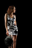 Menina de tentação no fundo preto Fotografia de Stock Royalty Free