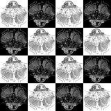 Menina de tiragem preto e branco da Libra sem emenda do sinal do zodíaco da textura em um chapéu sob a forma da Libra do sinal do ilustração royalty free