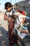 Menina deficiente com cão Imagem de Stock