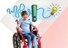 Menina deficiente na cadeira de rodas com os gráficos coloridos da ideia Fotografia de Stock Royalty Free