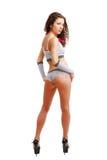 Menina delgada na roupa erótica do ponto de polca. Foto de Stock Royalty Free