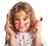 A menina, desenha a pintura Imagem de Stock