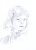 Menina - desenho de lápis ilustração royalty free