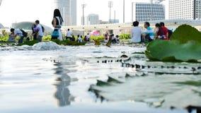 A menina dispara com o smartphone perto lilly da lagoa das almofadas em Marina Bay Sands vídeos de arquivo