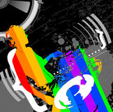 Menina DJ e música do arco-íris ilustração stock