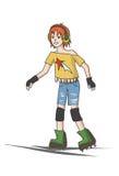 Menina do adolescente em patins de rolo Fotografia de Stock Royalty Free