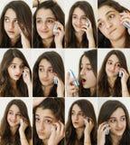 Menina do adolescente no telefone Fotos de Stock Royalty Free