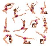 A menina do adolescente que faz os exercícios da ginástica isolados no fundo branco foto de stock