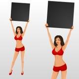 Menina do anel de encaixotamento que guardara uma placa Foto de Stock Royalty Free