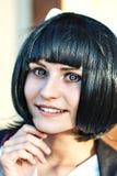 Menina do Anime com um cabelo preto Fotografia de Stock
