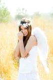 Menina do anjo no campo dourado com asas brancas Fotografia de Stock