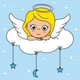Menina do anjo sobre uma nuvem ilustração stock
