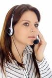 Menina do apoio a o cliente. Centro de chamadas Imagens de Stock